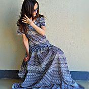Одежда ручной работы. Ярмарка Мастеров - ручная работа 01. Длинное платье свободного силуэта из 100%  хлопка. Handmade.