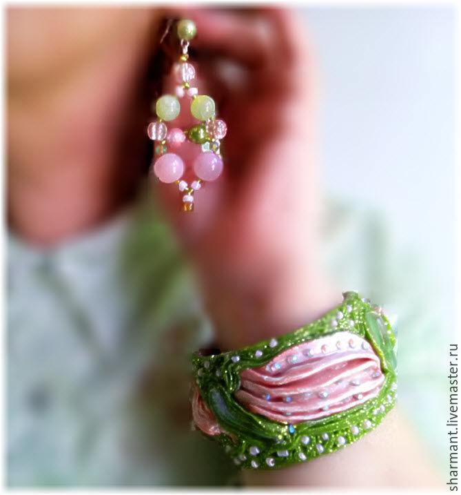 Розово-салатовый комплект, Комплект браслетов, Симферополь,  Фото №1