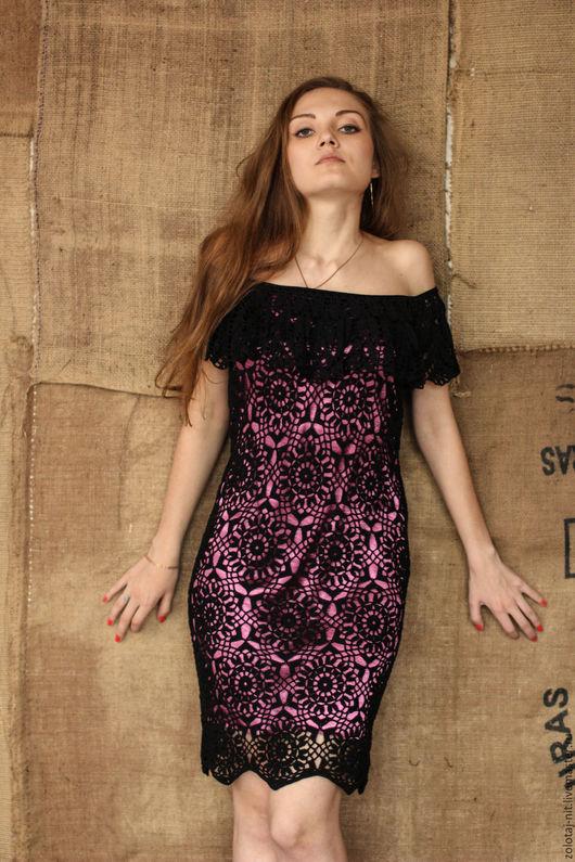 Платья ручной работы. Ярмарка Мастеров - ручная работа. Купить Платье Сердцеедка, ажурное. Handmade. Черный, вязаное платье, фуксия