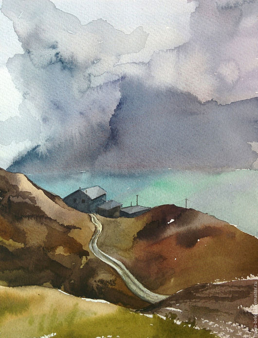 """Пейзаж ручной работы. Ярмарка Мастеров - ручная работа. Купить Акварель """"Дом в горах"""". Handmade. Комбинированный, горы, дом"""