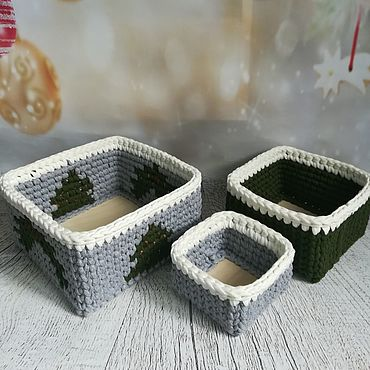 Для дома и интерьера ручной работы. Ярмарка Мастеров - ручная работа Набор новогодних корзин из трикотажной пряжи. Handmade.