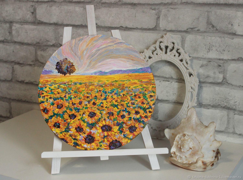 Картина круглая Подсолнухи, диаметр 30 см, Картины, Верхняя Хава,  Фото №1