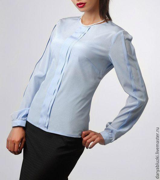 """Блузки ручной работы. Ярмарка Мастеров - ручная работа. Купить Блузка шелковая """"Элегантная классика"""". Handmade. Голубой, однотонный, блузка"""