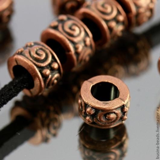 Бусины металлические литые с затейливым растительным орнаментом в виде завитков с покрытием античная медь для сборки украшений комплектами по 10 штук
