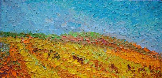 Пейзаж ручной работы. Ярмарка Мастеров - ручная работа. Купить 120х60 Степь. Полдень.. Handmade. Желтый, полдень, небо