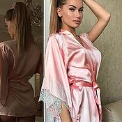 Robes handmade. Livemaster - original item Luxury 100% pink silk robe with delicate lace. Handmade.