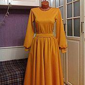 Одежда ручной работы. Ярмарка Мастеров - ручная работа Трикотажное платье миди Янтарь. Handmade.