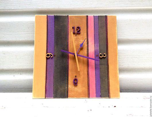 Часы для дома ручной работы. Ярмарка Мастеров - ручная работа. Купить Настенные часы в полосу. Handmade. Комбинированный, полоска, горчичный