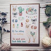 """Открытки ручной работы. Ярмарка Мастеров - ручная работа Лист наклеек """"лама"""". Handmade."""
