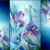 Шёлковый шарф. Ирисы на синем. Крепдешин. Холодный батик.190-50 см.