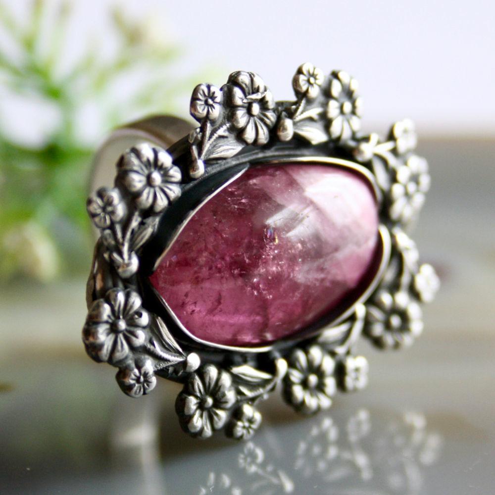 Strawberry fresh ring-pink tourmaline, silver, Rings, Prague,  Фото №1
