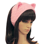 Аксессуары handmade. Livemaster - original item Headband with Cat ears knitted hair Pink. Handmade.