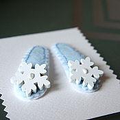 Работы для детей, ручной работы. Ярмарка Мастеров - ручная работа Заколки для волос Снежинки на льду. Handmade.