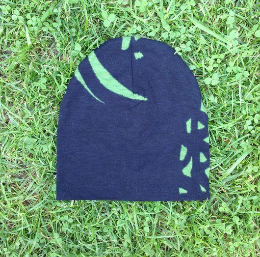 Шапки и шарфы ручной работы. Ярмарка Мастеров - ручная работа. Купить Детская трикотажная шапка чёрная с зеленым. Handmade. Шапка