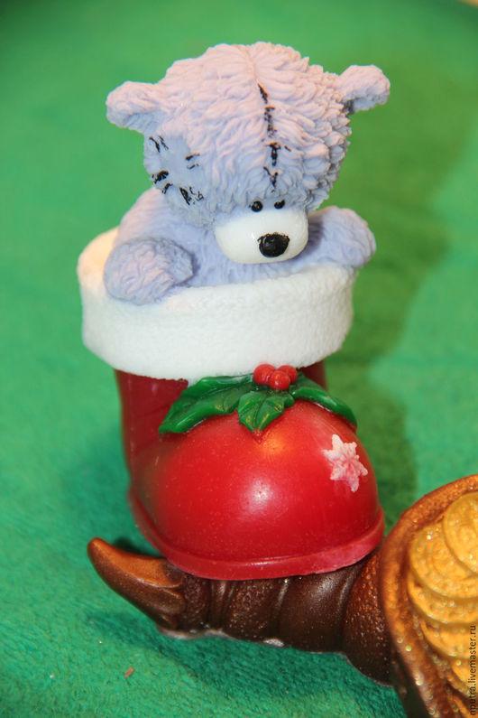 Мыло ручной работы. Ярмарка Мастеров - ручная работа. Купить тедди с рождественском сапожке. Handmade. Подарок, Новый Год, тедди