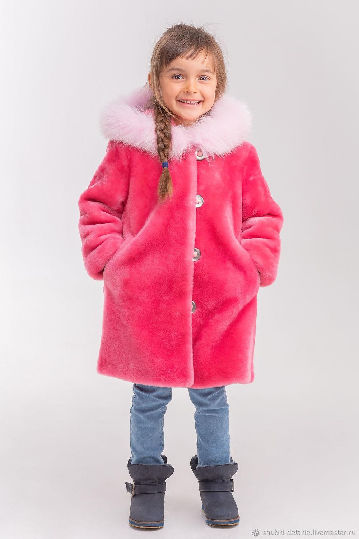 Для новорожденных, ручной работы. Ярмарка Мастеров - ручная работа. Купить Розовая детская шуба. Handmade. Пальто, фуксия, овчина