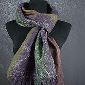 Аксессуары handmade. Livemaster - original item Scarf felted woolen accessory Golden green blueberry. Handmade.