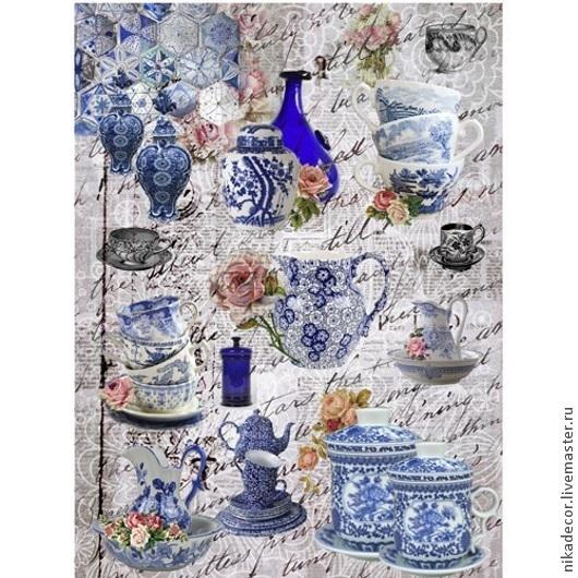 Декупаж и роспись ручной работы. Ярмарка Мастеров - ручная работа. Купить Голубая посуда (CD01693) - рисовая бумага, А3. Handmade.