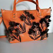 Сумки и аксессуары handmade. Livemaster - original item Women`s leather bag with fur applique. Red willow. Handmade.