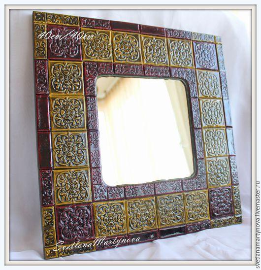"""Зеркала ручной работы. Ярмарка Мастеров - ручная работа. Купить Зеркало """"Изразцы"""". Handmade. Комбинированный, зеркало в деревянной раме"""