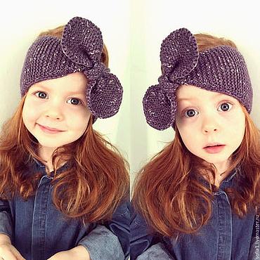 Работы для детей, ручной работы. Ярмарка Мастеров - ручная работа Вязанная повязка на голову для девочки. Handmade.