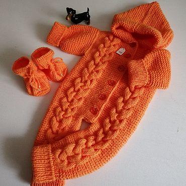 Товары для малышей ручной работы. Ярмарка Мастеров - ручная работа Нарядный комплект Апельсиновое счастье для новорождённого 0-3. Handmade.