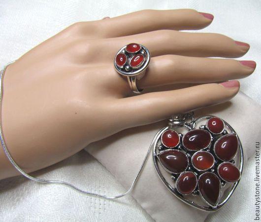 Комплекты украшений ручной работы. Ярмарка Мастеров - ручная работа. Купить Комплект с сердоликом. Handmade. Разноцветный, редкие камни кольцо