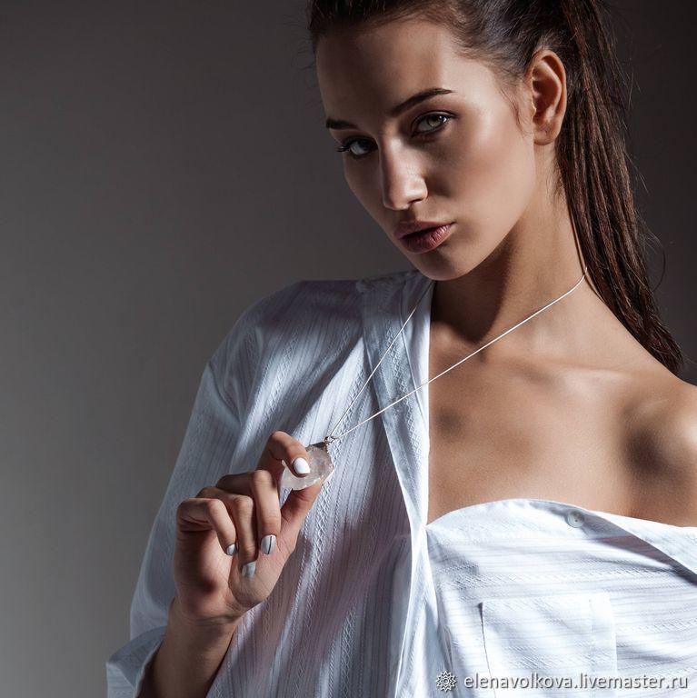 Кулон прозрачный горный хрусталь девушка черно белый, Колье, Ярославль,  Фото №1