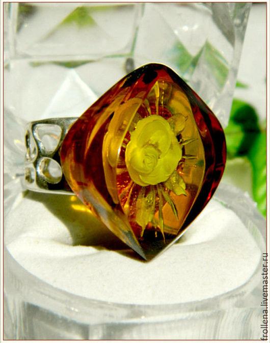 """Кольца ручной работы. Ярмарка Мастеров - ручная работа. Купить Кольцо """"Тайна2"""" янтарь посеребрение. Handmade. Янтарь, розочка"""