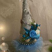 """Цветы и флористика ручной работы. Ярмарка Мастеров - ручная работа Новогодняя ёлочка """"Голубая мечта"""". Handmade."""