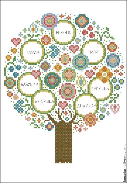 Схема для вышивки бисером на габардине семейное дерево княгиня.