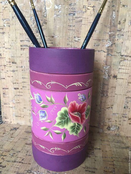 Карандашницы ручной работы. Ярмарка Мастеров - ручная работа. Купить Карандашница ручная роспись. Handmade. Карандашница из дерева, карандашница, комбинированный