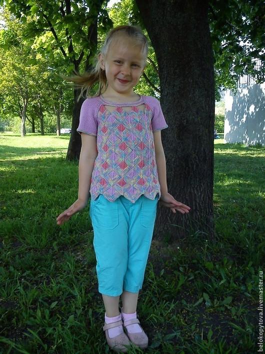 """Одежда для девочек, ручной работы. Ярмарка Мастеров - ручная работа. Купить Вязаная туника для девочки """"Веселые квадратики пэчворк"""". Handmade."""