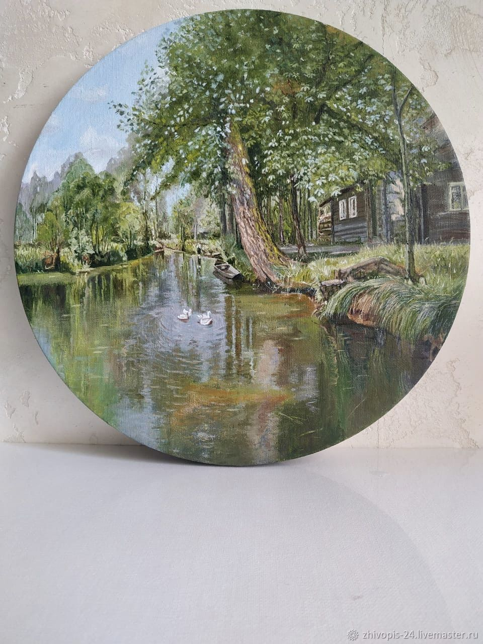 Paintings: oil painting. house by the pond in the forest, Pictures, Moscow,  Фото №1