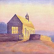 Картины и панно ручной работы. Ярмарка Мастеров - ручная работа Картина акварелью В лучах заката, сиреневый желтый пейзаж. Handmade.