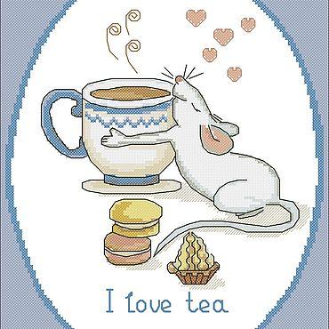 """Материалы для творчества ручной работы. Ярмарка Мастеров - ручная работа Схема для вышивки """"Я люблю чай"""". Handmade."""