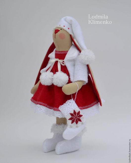 Куклы Тильды ручной работы. Ярмарка Мастеров - ручная работа. Купить Новогодняя зайка.. Handmade. Заяц, зайка девочка, флис