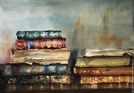 Натюрморт ручной работы. Ярмарка Мастеров - ручная работа. Купить Старые книги. Handmade. Комбинированный, абстрактный, книга, акварельная бумага