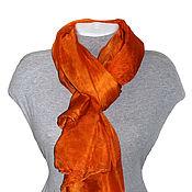 Аксессуары ручной работы. Ярмарка Мастеров - ручная работа Шелковый палантин Оранжевое настроение  шелковый шарф. Handmade.