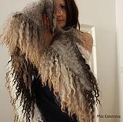 Аксессуары ручной работы. Ярмарка Мастеров - ручная работа Felted fur collar. Marble. Валяный меховой воротник. Мраморная.. Handmade.