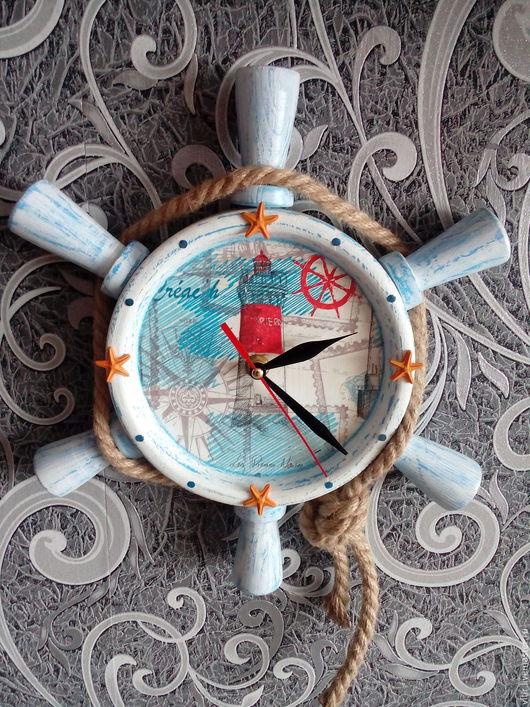 Часы для дома ручной работы. Ярмарка Мастеров - ручная работа. Купить Часы Штурвал 03. Handmade. Комбинированный, часы настенные