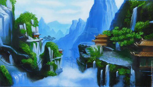 Пейзаж ручной работы. Ярмарка Мастеров - ручная работа. Купить Долина мудрости. Handmade. Фен-шуй, картина для интерьера, глубина