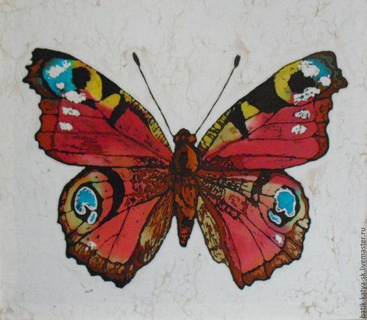 Животные ручной работы. Ярмарка Мастеров - ручная работа. Купить Батик панно «Бабочка Павлиний глаз» на шелке. Handmade. Батик