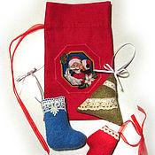 Подарки к праздникам ручной работы. Ярмарка Мастеров - ручная работа Набор елочных игрушек Флисовый Новый год. Handmade.