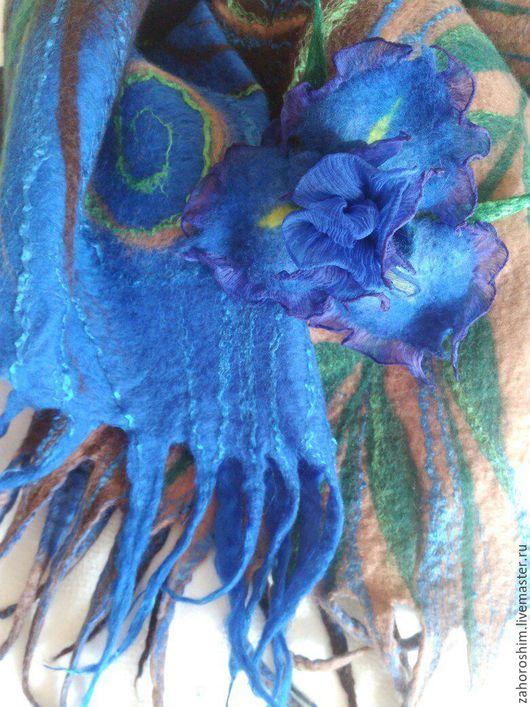 """Шали, палантины ручной работы. Ярмарка Мастеров - ручная работа. Купить Палантин валяный с брошью """"Синий цветок"""". Handmade. синий"""