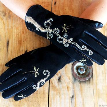 "Accessories handmade. Livemaster - original item Black suede leather gloves.Unique design ""The Golden Butterflies"". Handmade."