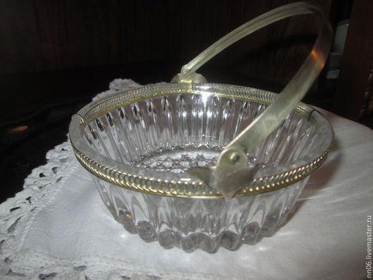 Винтажная посуда. Ярмарка Мастеров - ручная работа. Купить Антикварная  конфетница-сахарница с мельхиоровой ручкой,50-е годы.. Handmade.