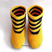 Обувь ручной работы. Ярмарка Мастеров - ручная работа Вязаные сапожки Билайн Вязаные сапоги  Вязаная обувь для дома. Handmade.