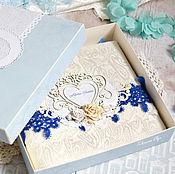 """Свадебный салон ручной работы. Ярмарка Мастеров - ручная работа Свадебный фотоальбом """"White & blue"""", подарок на свадьбу. Handmade."""
