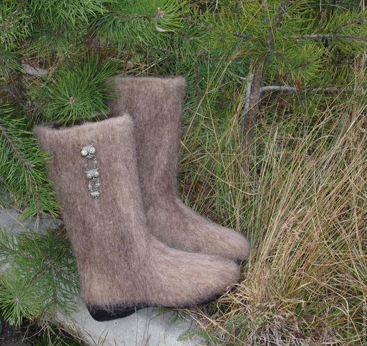 """Обувь ручной работы. Ярмарка Мастеров - ручная работа. Купить Валенки """"Совушки"""". Handmade. Бежевый, зимняя обувь, обувь из войлока"""